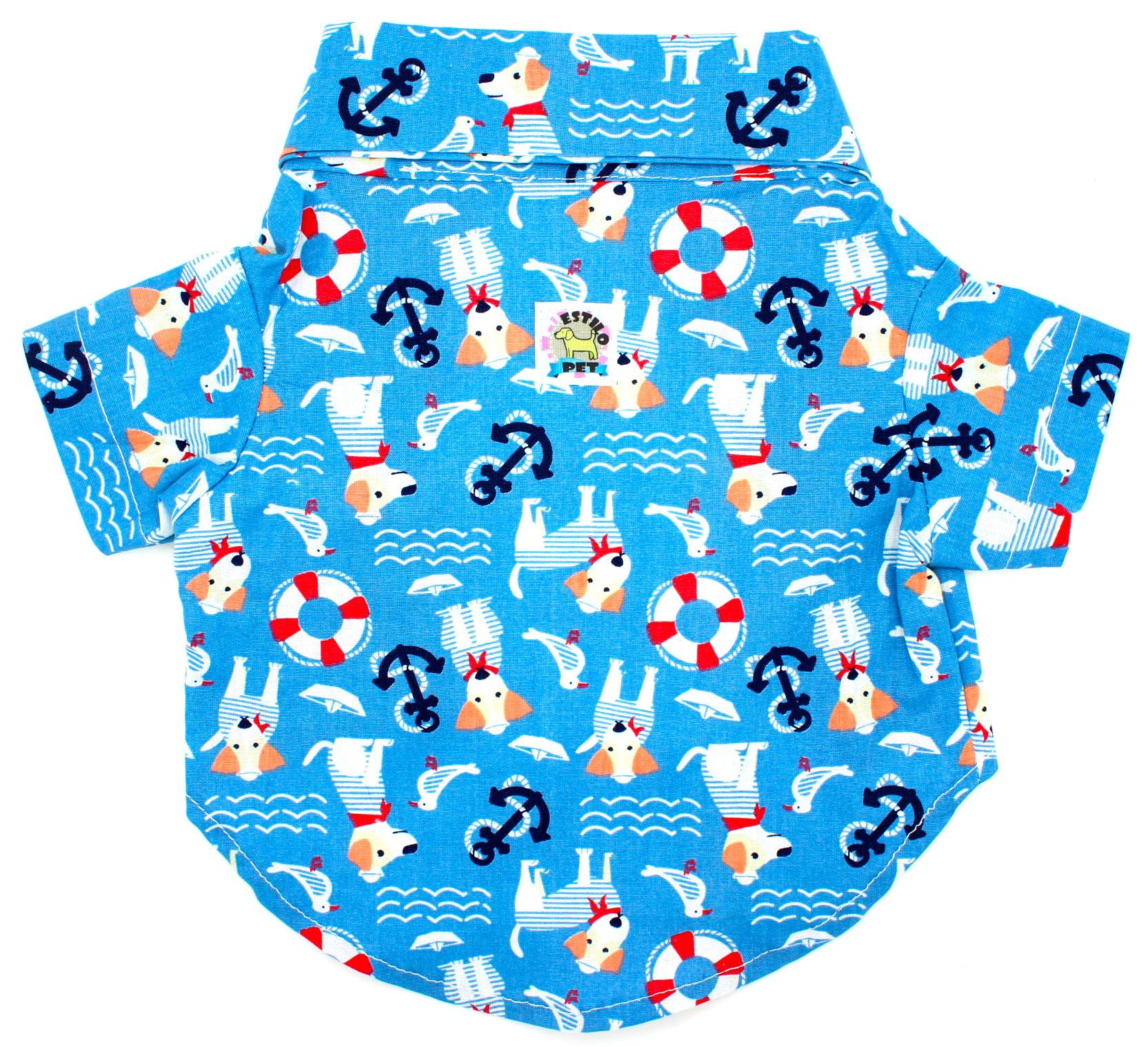 Camisa para Cachorro - Tecido Azul Marinheiro - Estilo Pet - Pet Elegante 491523edc816a