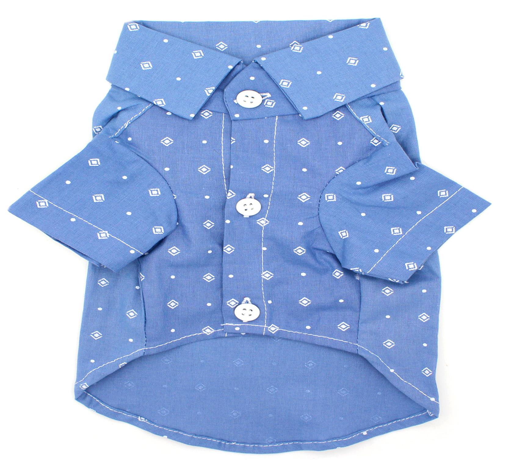 Camisa para Cachorro - Tecido Azul Quadradinhos e Bolinhas - Estilo Pet - Pet  Elegante b2dc705753ecf