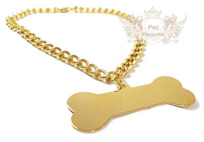 Corrente Banhada a Ouro com Pingente Osso Grande Folheado a Ouro - Gravação  Nome e Telefone - Pet Elegante 325495348a