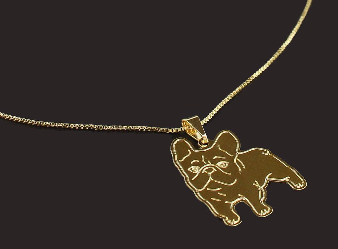 Semi Joia Folheada a Ouro - Colar Pingente Bulldog Francês - Meu Pet Minha  Joia - Pet Elegante ec68eb06d8