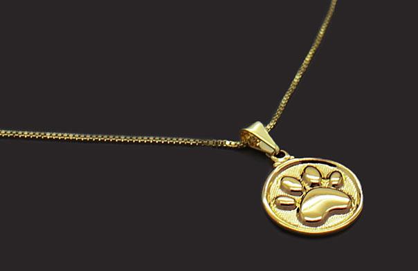 Semi Joia Folheada a Ouro - Colar Pingente Medalha Patinha - Meu Pet Minha  Joia - Pet Elegante 5612ffba47