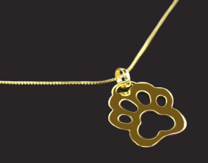 Semi Joia Folheada a Ouro - Colar Pingente Patinha Vazada - Belo Pet - Pet  Elegante b568a855c8