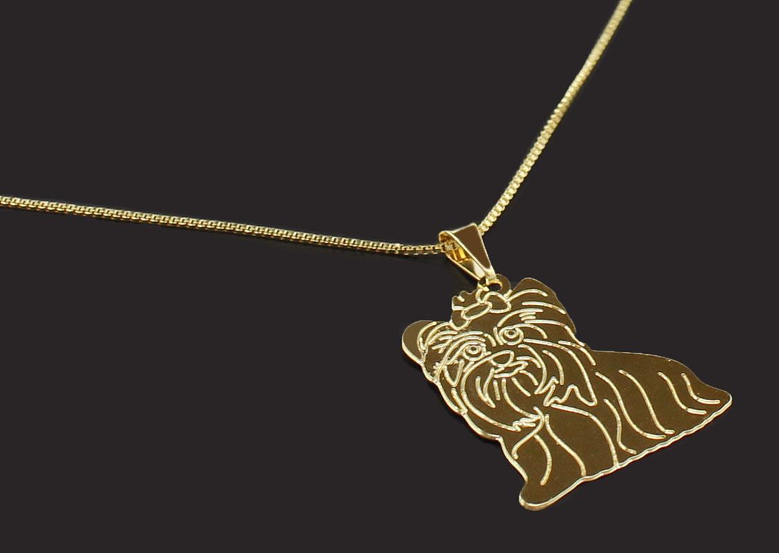Semi Joia Folheada a Ouro - Colar Pingente Yorkshire - Meu Pet Minha Joia - Pet  Elegante 70f18994bf