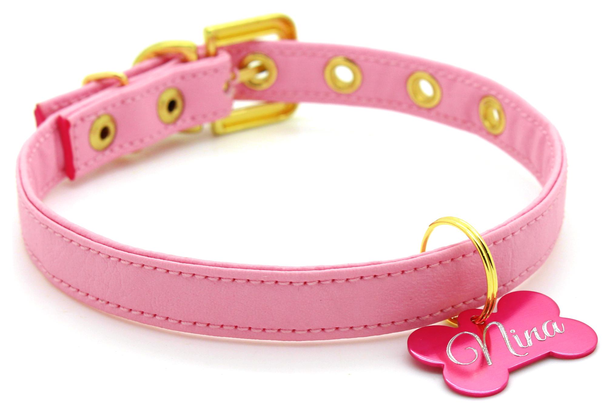 55612d3d9 Coleira para Cachorro com Nome e Telefone - Courino Rosa Claro Pingente  Rosa Claro - Pet Elegante