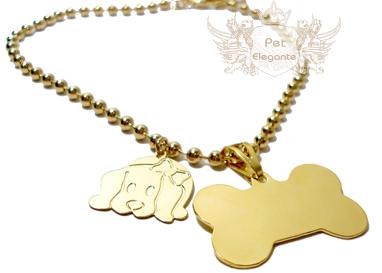 Colar Bolinhas c  Pingente Osso Folheados a ouro - Gravação Nome e Telefone  - Pet Elegante 10ccdeae6e