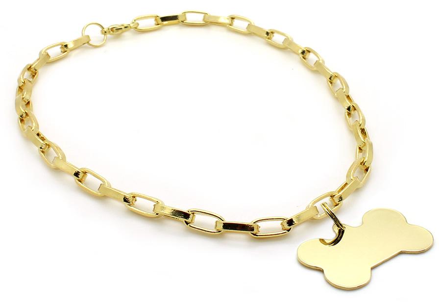 Colar Canopus Folheado a Ouro com Pingente Osso Folheado a Ouro - Gravação  Nome e Telefone - Pet Elegante 8503c53f89