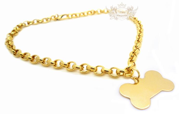 Corrente Modelo Zelda Dourada com Pingente Osso Folheado a Ouro - Gravação  Nome e Telefone - Pet Elegante e463827e81