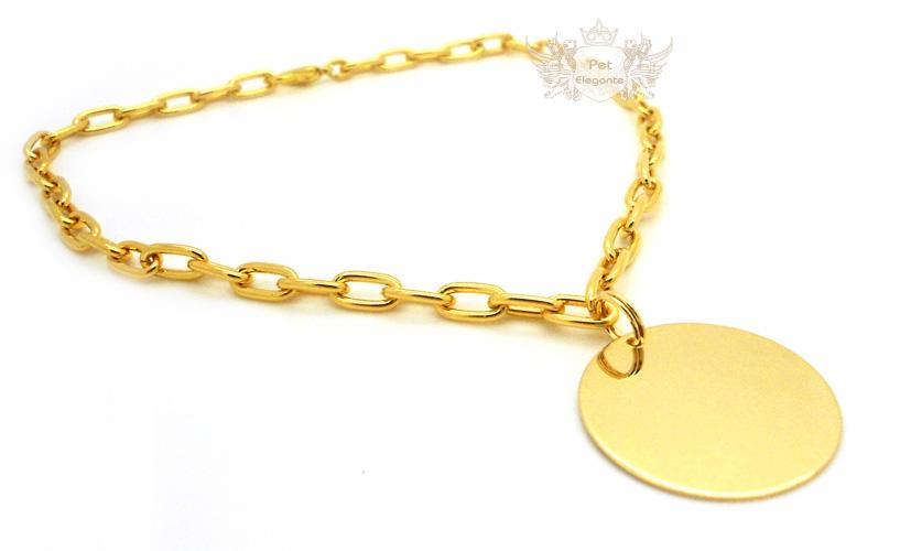 5b89597739bdd Corrente Modelo Wallis Dourada com Pingente Redondo Folheado a Ouro - Gravação  Nome e Telefone - Pet Elegante