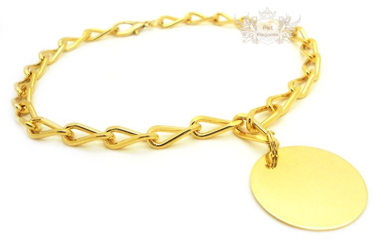 4831d8bd29fe6 Corrente Modelo Veneza Banhada a Ouro com Pingente Redondo Folheado a Ouro  - Gravação Nome e Telefone - Pet Elegante