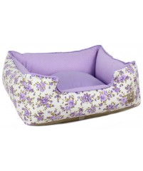 Cama Branco e Lilás Estampa Flores - Unique Pet