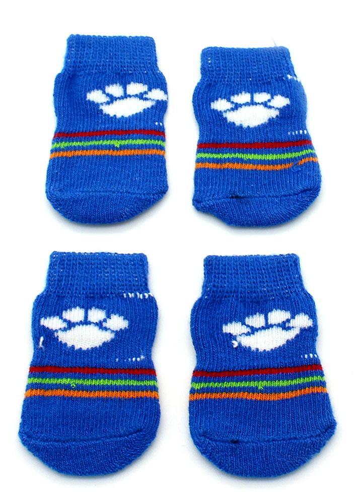573f26bc0 Meia para Cachorro - Azul Listras Coloridas Estampa Patinhas - Pet Elegante