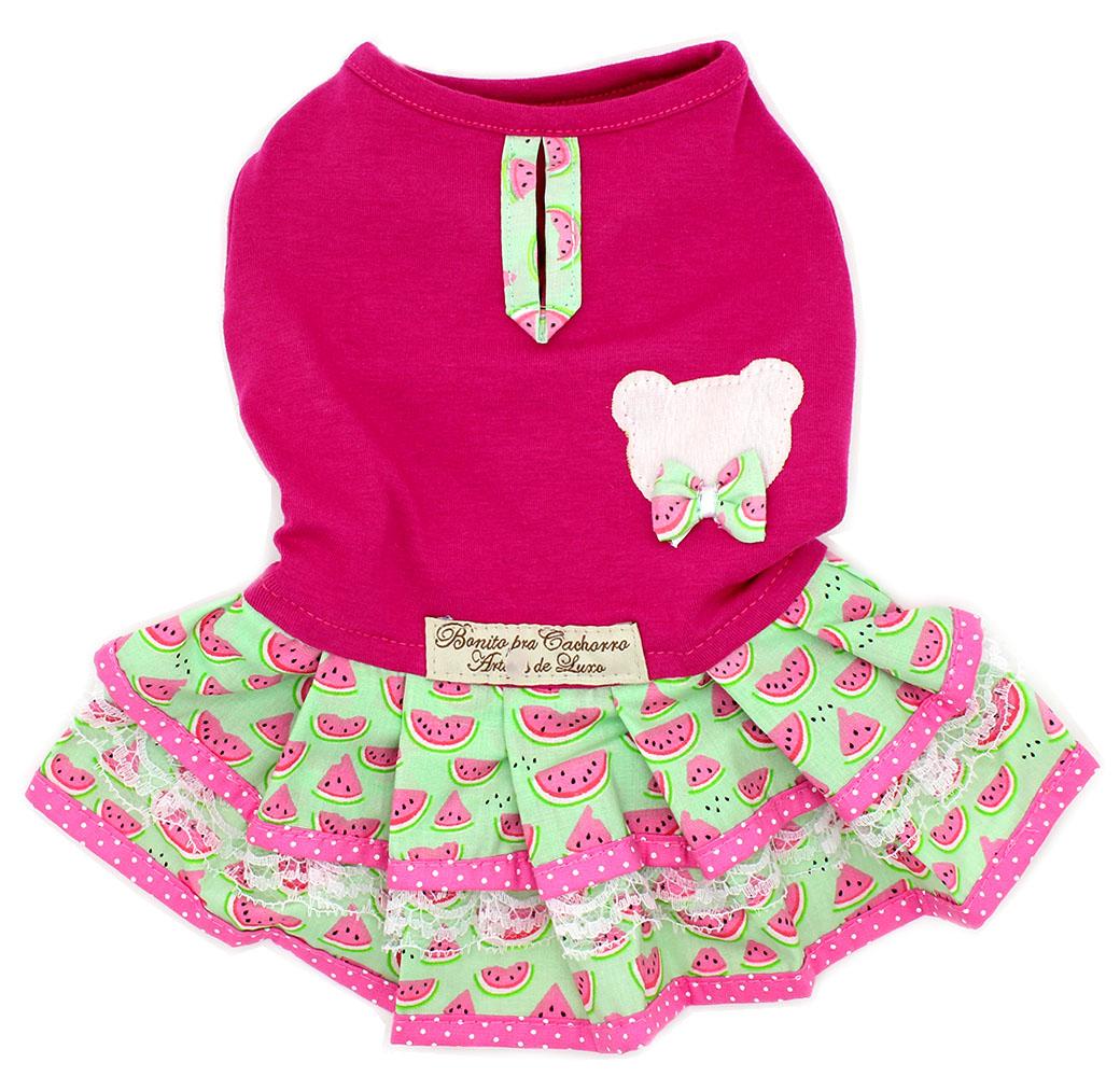 e5e900e6b1b3 Roupa para Cachorro Vestido Rosa e Verde - Estampa Melancia - Pet Elegante