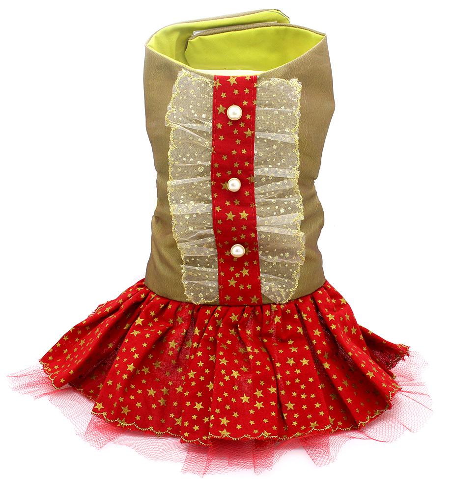 a4954e8ee1 Vestido Vermelho e Dourado com Saia de Estrelinhas - Pet Elegante