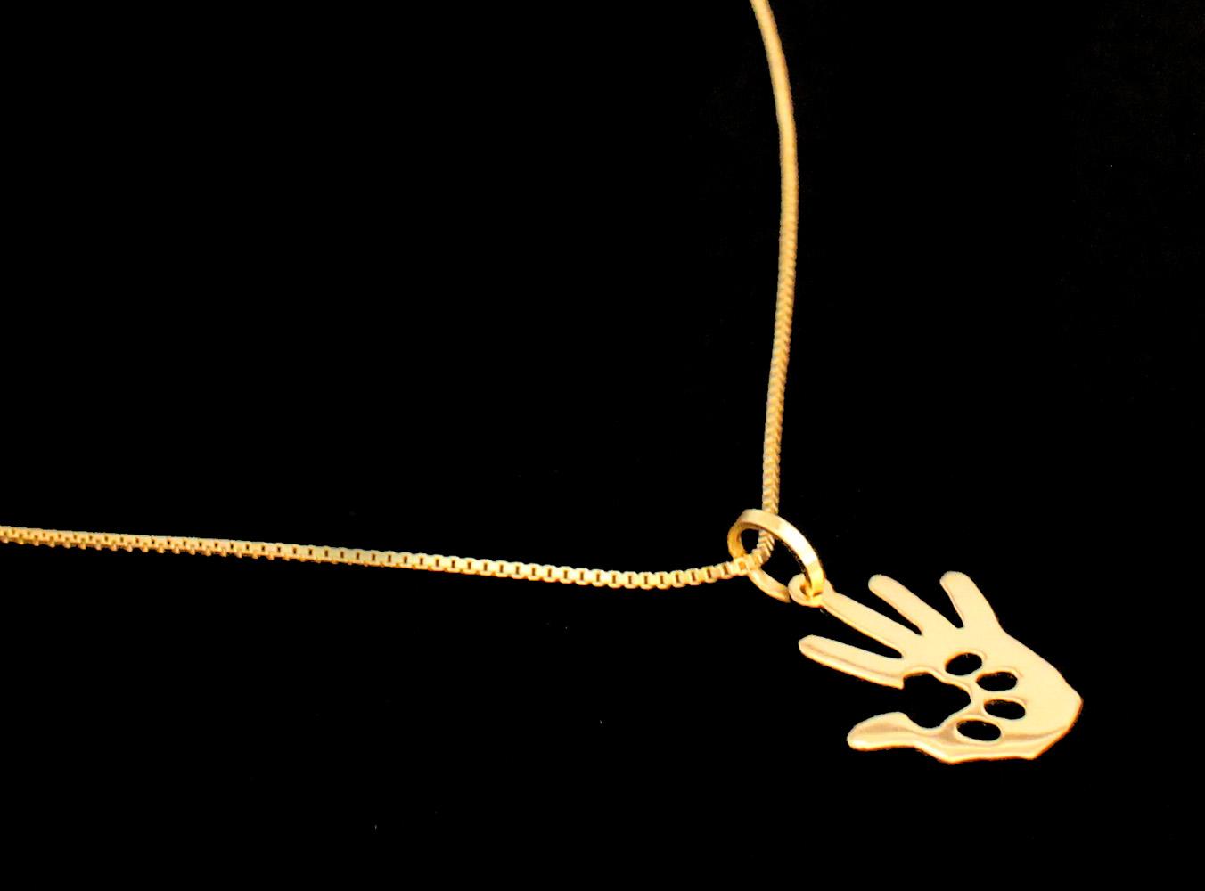 Semi Joia Folheada a Ouro - Colar Somos Um - Mão e Patinha - Pet Elegante 607550bd02