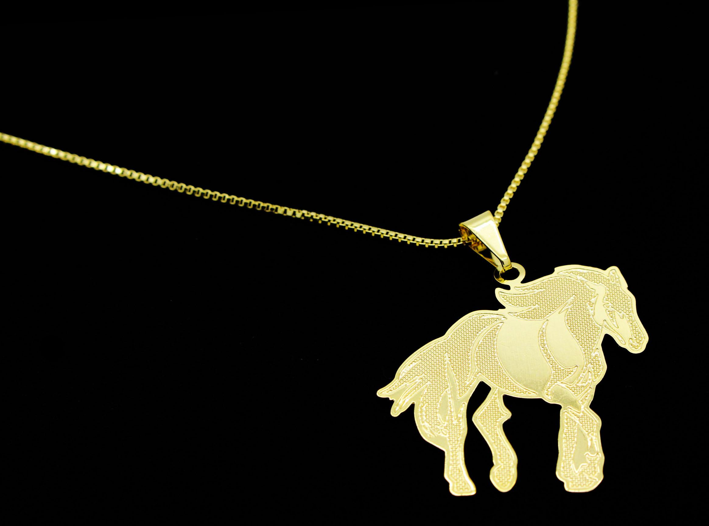 Semi Joia Folheada a Ouro - Colar Pingente Cavalo - Meu Pet Minha Joia - Pet  Elegante 887f91596c
